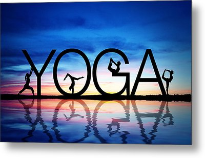 Sunset Yoga Metal Print by Aged Pixel