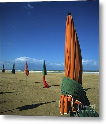 Sunshade On The Beach. Deauville. Normandy. France Metal Print by Bernard Jaubert