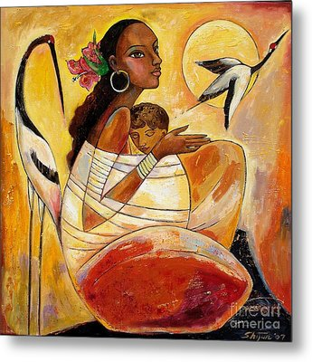 Sunshine Mother And Child Metal Print by Shijun Munns