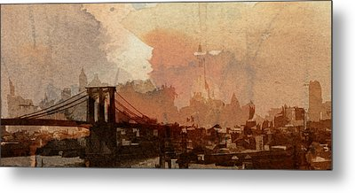 Sunsrise Over Brooklyn Bridge Metal Print by Stefan Kuhn