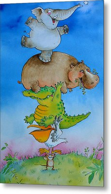 Super Mouse Pen & Ink And Wc On Paper Metal Print by Maylee Christie