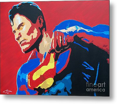 Superman - Red Sky Metal Print by Kelly Hartman