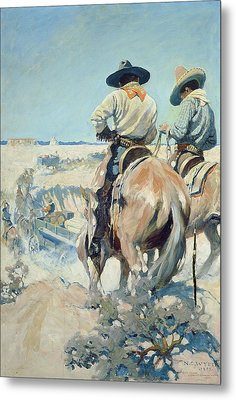 Supply Wagons Metal Print by Newell Convers Wyeth