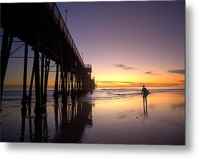 Surfer At Sunset Metal Print by Peter Tellone