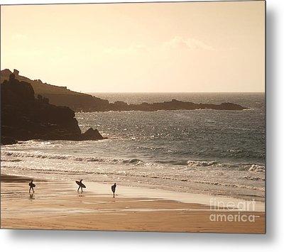 Surfers On Beach 03 Metal Print by Pixel Chimp