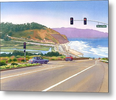 Surfers On Pch At Torrey Pines Metal Print by Mary Helmreich
