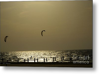 Surfing At Sunset 02 Metal Print by Arik Baltinester