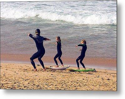 Surfing Lesson Metal Print by Stuart Litoff