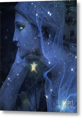 Surreal Fantasy Celestial Blue Angelic Face With Stars Metal Print by Kathy Fornal