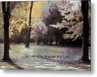 Surreal Fantasy Fall Autumn Woodlands Forest Landscape With Inspirational Message  Metal Print by Kathy Fornal