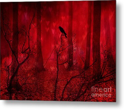 Surreal Fantasy Gothic Red Woodlands Raven Trees Metal Print by Kathy Fornal