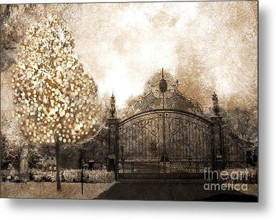 Surreal Fantasy Haunting Gate With Sparkling Tree Metal Print by Kathy Fornal