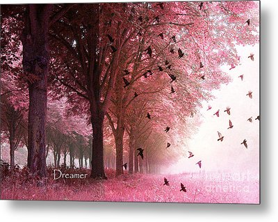 Surreal Fantasy Pink Nature Forest Woods With Birds Flying  Metal Print by Kathy Fornal