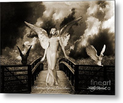 Surreal Gothic Angel With Gargoyle And Eagle Metal Print by Kathy Fornal
