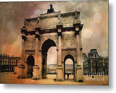 Surreal Paris Arc De Triomphe Louvre Arch Courtyard Sepia Soft Bokeh Metal Print by Kathy Fornal