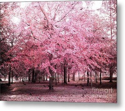 Surreal Pink Tree Landscape - South Carolina Pink Nature Landscape Metal Print by Kathy Fornal