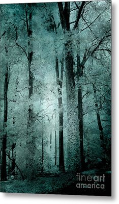 Surreal Trees Fantasy Dark Eerie Haunting Teal Green Woodlands Forest - Lost In The Woods Metal Print by Kathy Fornal