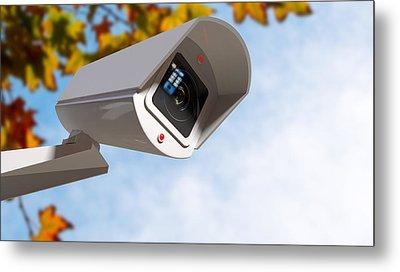 Surveillance Camera In The Daytime Metal Print by Allan Swart