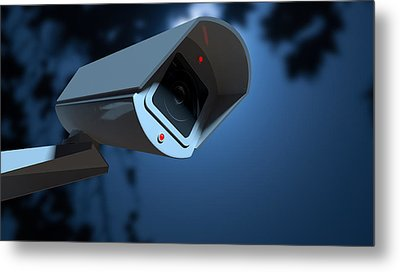 Surveillance Camera In The Night-time Metal Print by Allan Swart