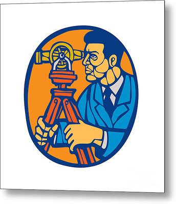Surveyor Geodetic Theodolite Woodcut Linocut Metal Print by Aloysius Patrimonio