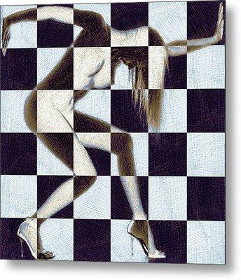 Survive Nude Woman Checkered 2 Metal Print by Tony Rubino