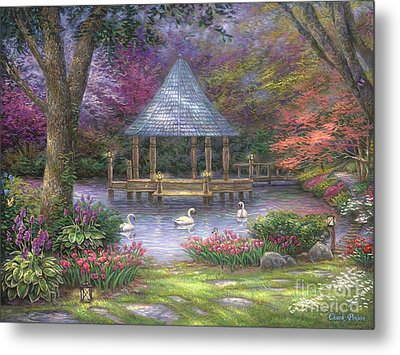 Swan Pond Metal Print by Chuck Pinson