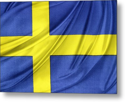 Swedish Flag Metal Print by Les Cunliffe