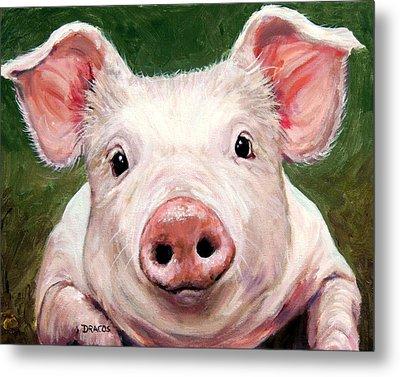 Sweet Little Piglet On Green Metal Print by Dottie Dracos