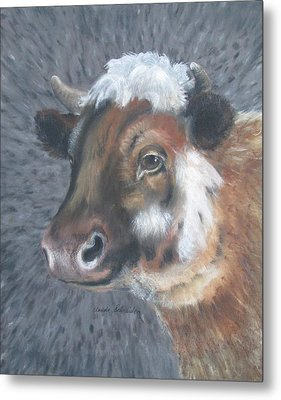 Sweet Shirley The Cow Metal Print by Claude Schneider