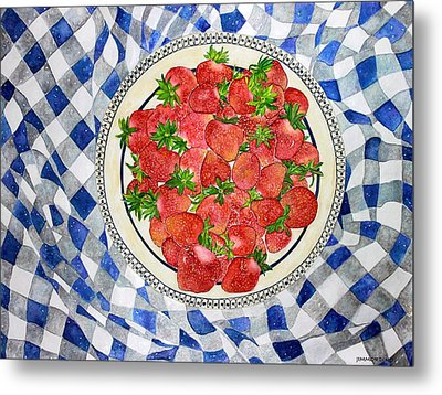 Sweet Strawberries Metal Print by Janet Immordino
