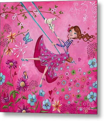 Swing Girl Metal Print by Caroline Bonne-Muller