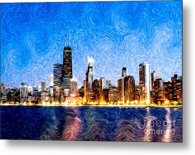 Swirly Chicago At Night Metal Print by Paul Velgos