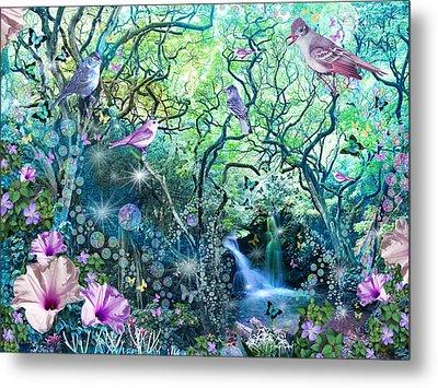 Swirly Tree Garden Metal Print by Alixandra Mullins