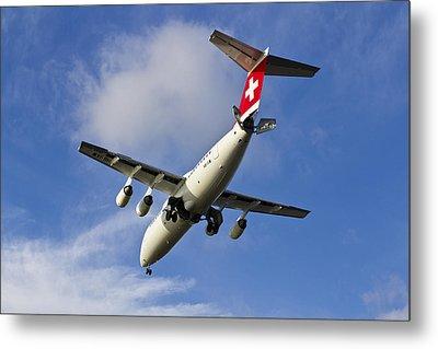 Swiss Air Bae146 Hb-ixw Metal Print by David Pyatt