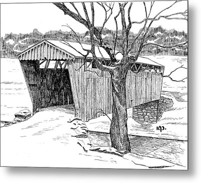 Switzer Covered Bridge Metal Print by Robert A Powell