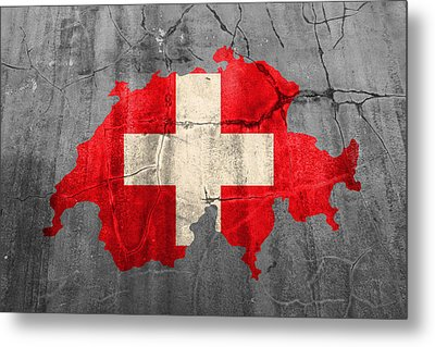 Switzerland Flag Country Outline Painted On Old Cracked Cement Metal Print by Design Turnpike
