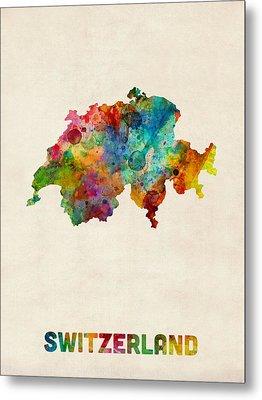 Switzerland Watercolor Map Metal Print by Michael Tompsett