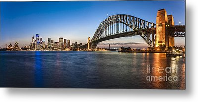 Sydney Harbour Evening Panorama Metal Print by Colin and Linda McKie