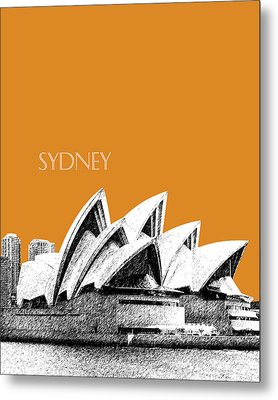 Sydney Skyline 3  Opera House - Dark Orange Metal Print by DB Artist