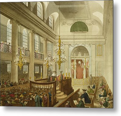 Synagogue At Dukes Place In Houndsditch Metal Print by Pugin And Rowlandson