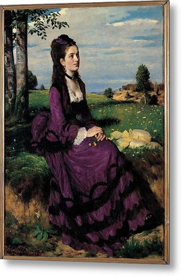 Szinyei Merse Pal, Portrait Of A Woman Metal Print by Everett