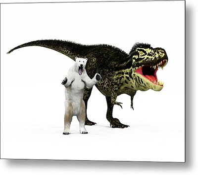 T-rex Dinosaur And Polar Bear Metal Print by Walter Myers