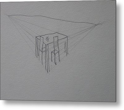 Table And Chairs Metal Print by AJ Brown