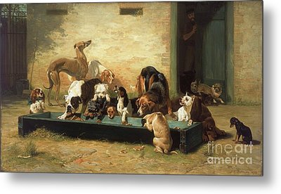 Table D'hote At Dogs Home  Metal Print by Pg Reproductions