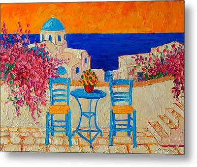 Table For Two In Santorini Greece Metal Print by Ana Maria Edulescu