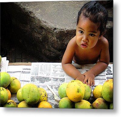 Tahitian Baby In Market Metal Print by Julie Palencia