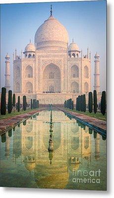 Taj Mahal Dawn Reflection Metal Print by Inge Johnsson