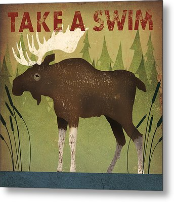 Take A Swim Moose Metal Print by Ryan Fowler