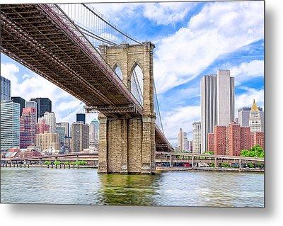 Take The Brooklyn Bridge Into Manhattan Metal Print by Mark E Tisdale