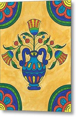 Talavera Flora 2 Metal Print by Susie WEBER